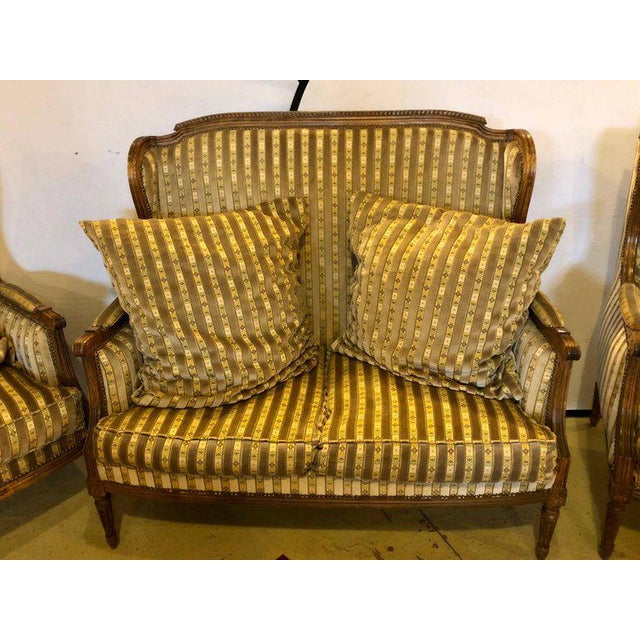 Louis XVI Living Room Suite Couch and Two Lounge Chairs - Set of 3 For Sale - Image 10 of 14