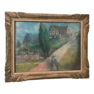 1940's Vintage French Pastel Landscape For Sale