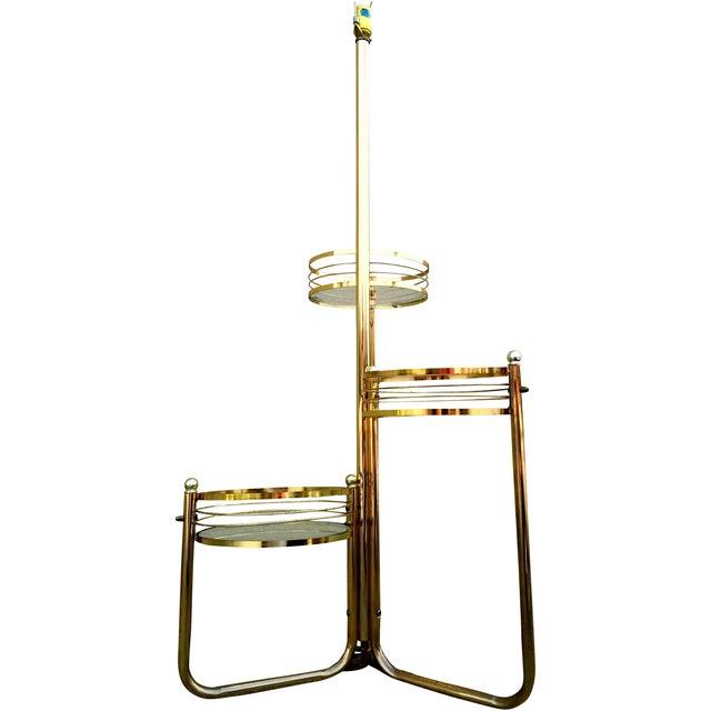 Mid-Century 3-Shelf Brass Floor Lamp - Image 1 of 9