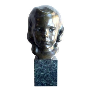 A Beautifully Rendered American Bronze Bust of a Young Girl by JG Kendall For Sale