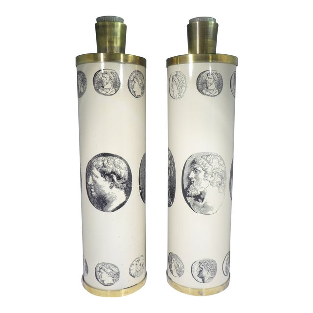 Mid Century Fornasetti Neoclassical Cameo Lamps-A Pair For Sale