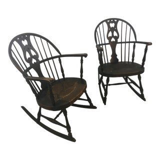 Antique Windsor Rocking Chairs, a Pair For Sale