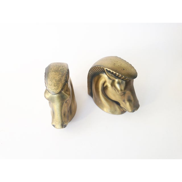 Vintage Gold Tone Horse Head Bookends - Image 4 of 5