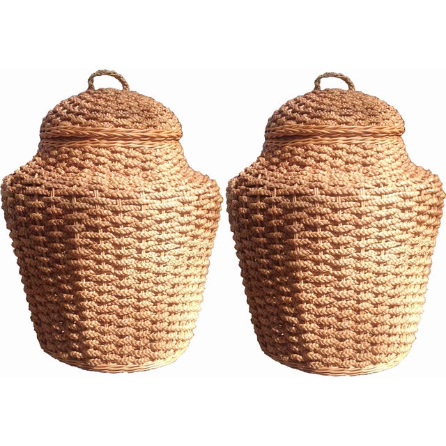 Giant Braided Seagrass Baskets - Pair - Image 1 of 7