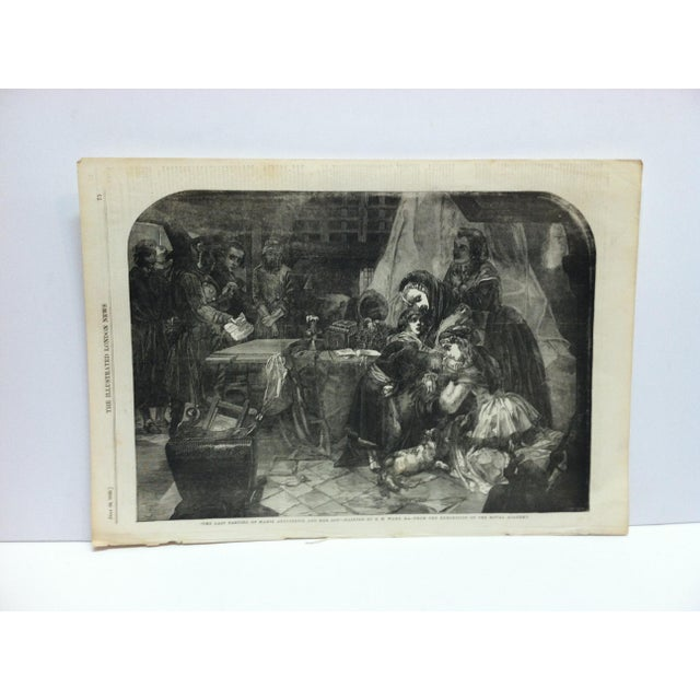 """Mid 19th Century Mid 19th Century Antique """"The Last Parting of Marie Antoinette and Her Son"""" The Illustrated London News Print For Sale - Image 5 of 5"""