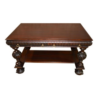 Antique Carved Mahogany Edwardian Style Writing Table Desk/Library Table For Sale