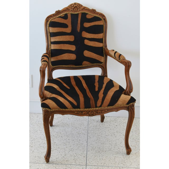 1950s Carved Hardwood & Tiger Cowhide Upholstered Armchair For Sale - Image 13 of 13