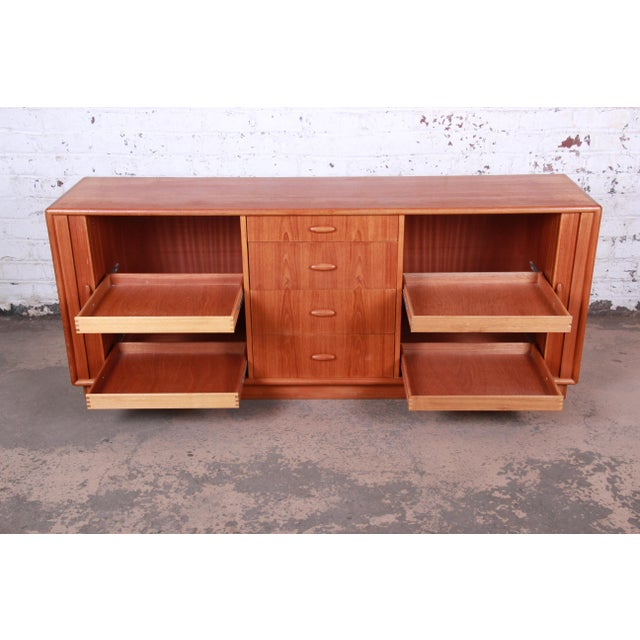 Danish Modern Teak Tambour Door Sideboard Credenza by Dyrlund For Sale In South Bend - Image 6 of 13