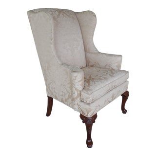 Thomasville Chippendale Style Wing Back Accent Chair For Sale