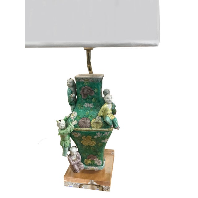 Chinese 19th Century Chinese Famille Rose Five Boys Vases Lamps - a Pair For Sale - Image 3 of 6