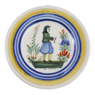 1930 French Faience Henriot Quimper Plate For Sale