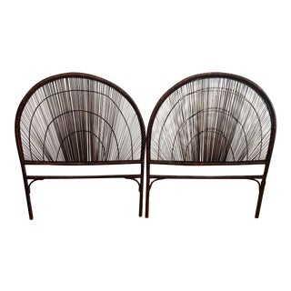 1960s Rattan Boho Chic Holly Wood Regency Mid Century Bentwood Sunburst Headboards - a Pair For Sale