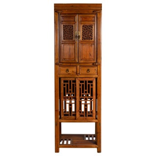 Antique Chinese Slender Kitchen Cabinet With Doors, Drawers and Open Fretwork For Sale