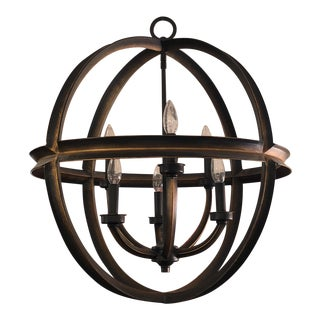 Friess Style Six Light Iron Chandelier For Sale