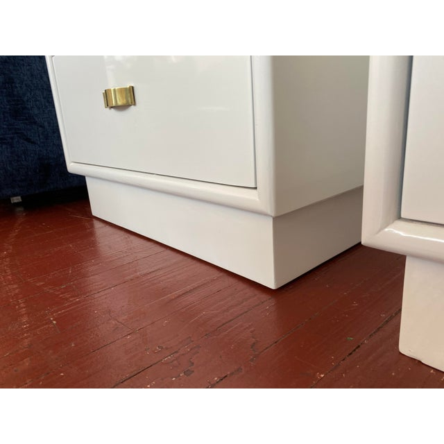 White Mid-Century Side Table, Newly Lacquered - a Pair For Sale - Image 8 of 9