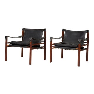 Pair of Rosewood and Leather Safari Chairs by Arne Norell For Sale