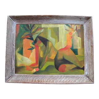Figurative Cubism Painting Oil on Canvas For Sale