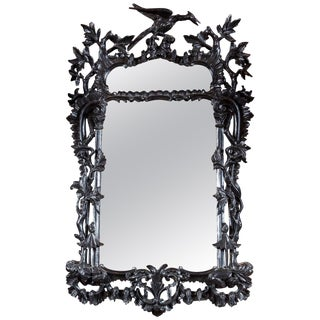 Carved Wood Chinoiserie Mirror For Sale