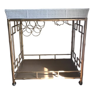 Bar Cart Gold Finish With White Tray For Sale
