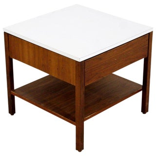 1960s Mid-Century Modern Florence Knoll Single Drawer Walnut Nightstand For Sale