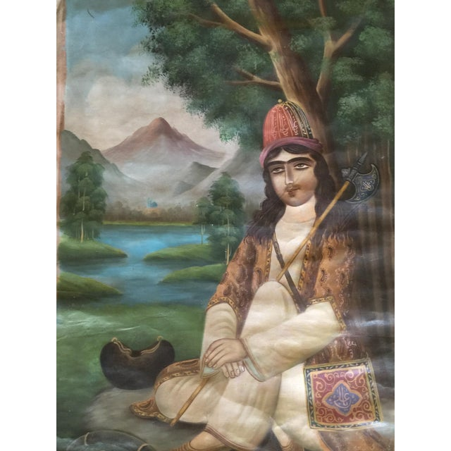 Antique 19th Century Persian Qajar Dynasty Oil On Canvas Painting Signed by artist. It is wan great and rare piece.