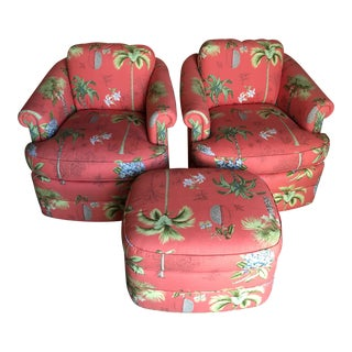 Coastal Island Style Palm Tree Upholstered Chairs and Ottoman Set For Sale