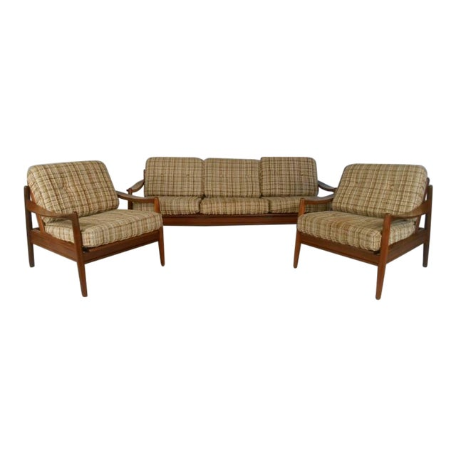 Scandinavian Modern Sofa and Chairs For Sale
