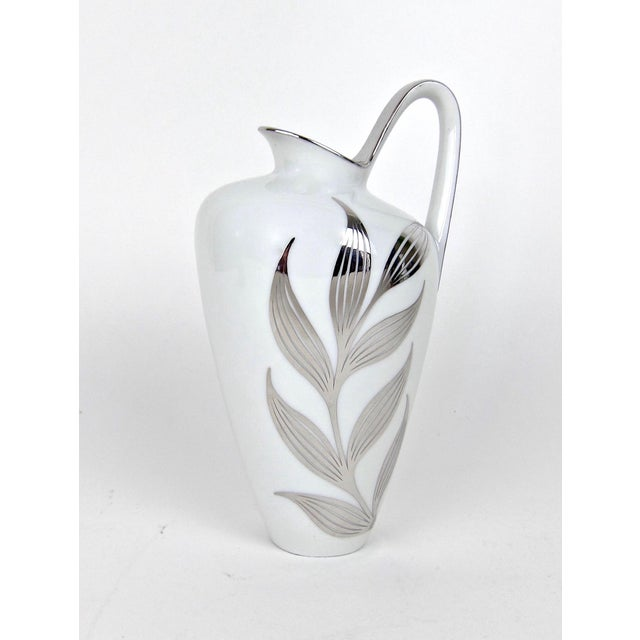 Mid-Century Modern 1960s Mid-Century White Porcelain Pitcher With Silver Metal Overlay For Sale - Image 3 of 8