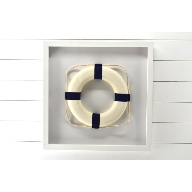 Contemporary Framed Blue & White Life Ring For Sale - Image 3 of 4