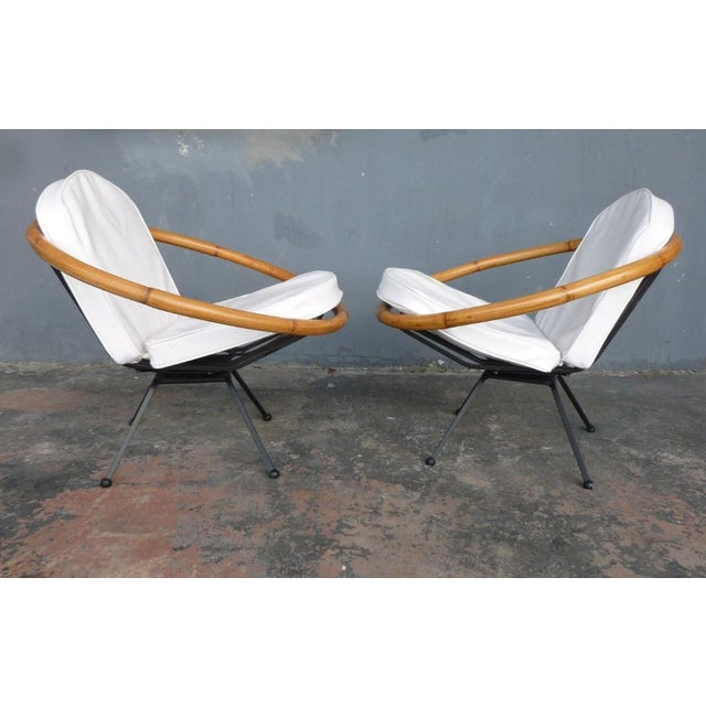 1950s Rare Mid Century Flying Saucer Ritts Tropitan Rattan and Iron Patio Chairs Restored For Sale - Image 5 of 9