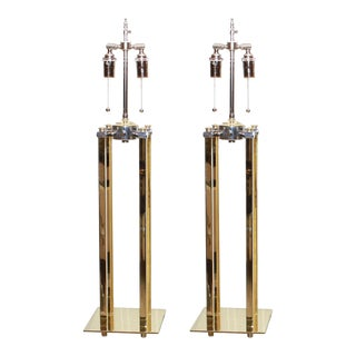 Mid-Century Modern Mixed Metal Lamps - a Pair For Sale