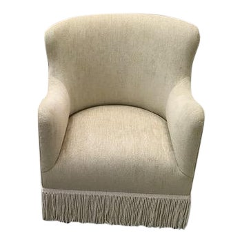 Custom Upholstered Wingback Armchair For Sale