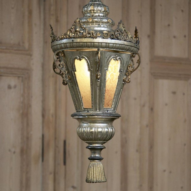 19th Century Venetian Silver Plated Brass Lantern Chandelier, Ca. 1850's For Sale - Image 4 of 8