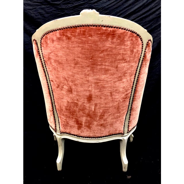 Antique French Louis XV Style Rose Velour Bergere Armchair with Nailhead Trim For Sale - Image 4 of 13