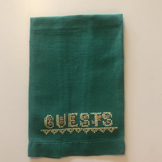 Vintage Green and Yellow Embroidered Guest Linen Towel For Sale In Miami - Image 6 of 6
