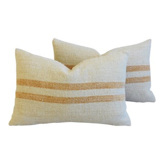 "French Golden Striped Grain Sack Feather/Down Pillows 24"" X 16"" - Pair For Sale"