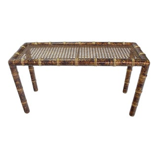 Gold and Amber Faux Bamboo Cane Top Console Table For Sale