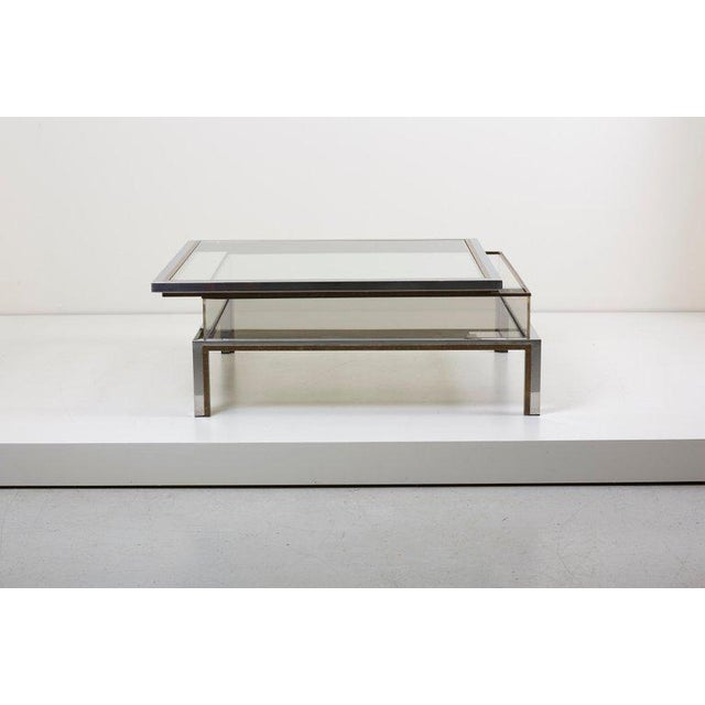 Hollywood Regency Maison Jansen Sliding Top Coffee Table in Brass and Chrome For Sale - Image 3 of 9