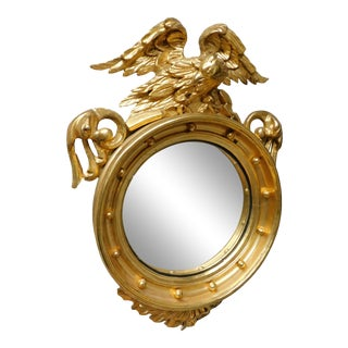 Antique Centennial Period Eagle Mounted Bulls Eye Convex Gilt Gold Frame Mirror For Sale