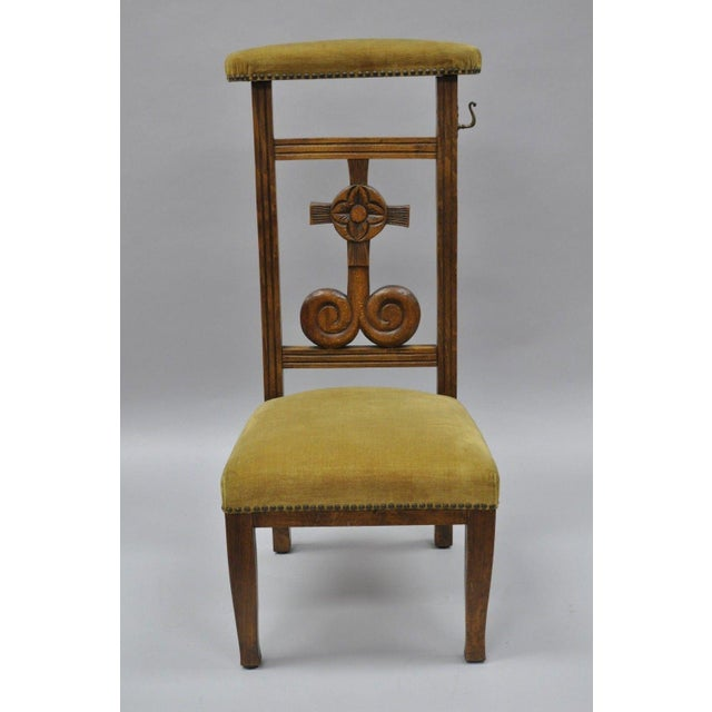 Antique Carved Oak Wood Prayer Chair. Details: Solid wood construction,  beautiful wood grain - Antique Carved Oak Wood Prie Dieu Prayer Chair Chairish