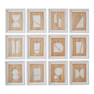 Josh Young Design House Blanc Géométrique Collection Paintings, 12 Pieces For Sale