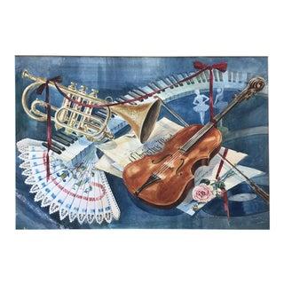 Vintage 1950's Watercolor Painting MusicViolin Trumpet Keyboards