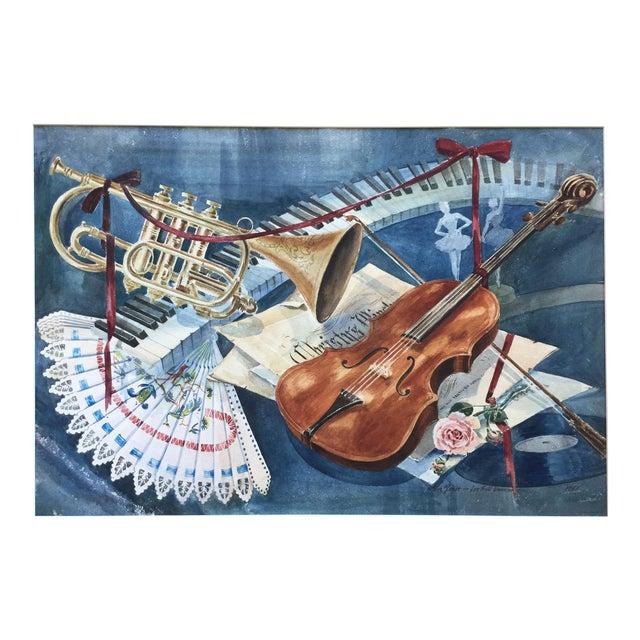 Vintage 1950's Watercolor Painting MusicViolin Trumpet Keyboards - Image 1 of 9