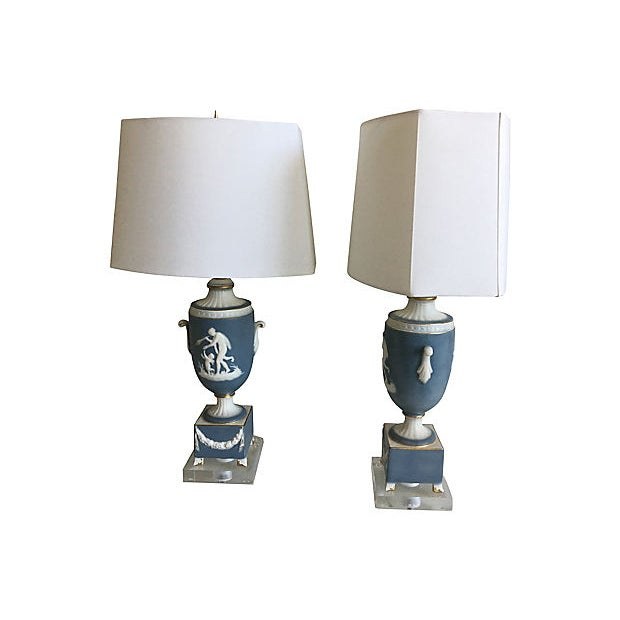 1950s Italian Jasperware Lamps & Shades - a Pair For Sale - Image 9 of 11