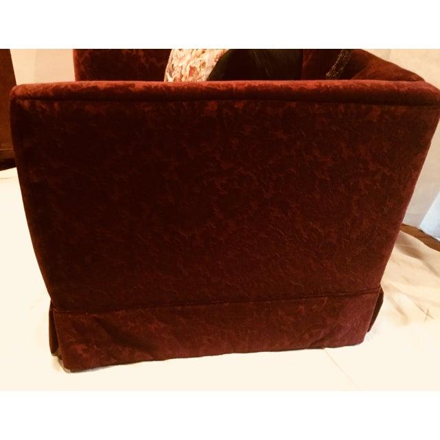 Traditional Bordeaux Cotton Velvet Damask Chair & a Half For Sale - Image 3 of 10