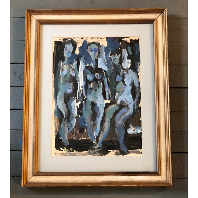 Black Vintage Original Abstract 3 Female Nudes Painting Framed 1982 For Sale - Image 8 of 8