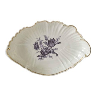 Richard Ginori Italy Gold Trim Purple Floral Shell-Shaped Serving Dish For Sale