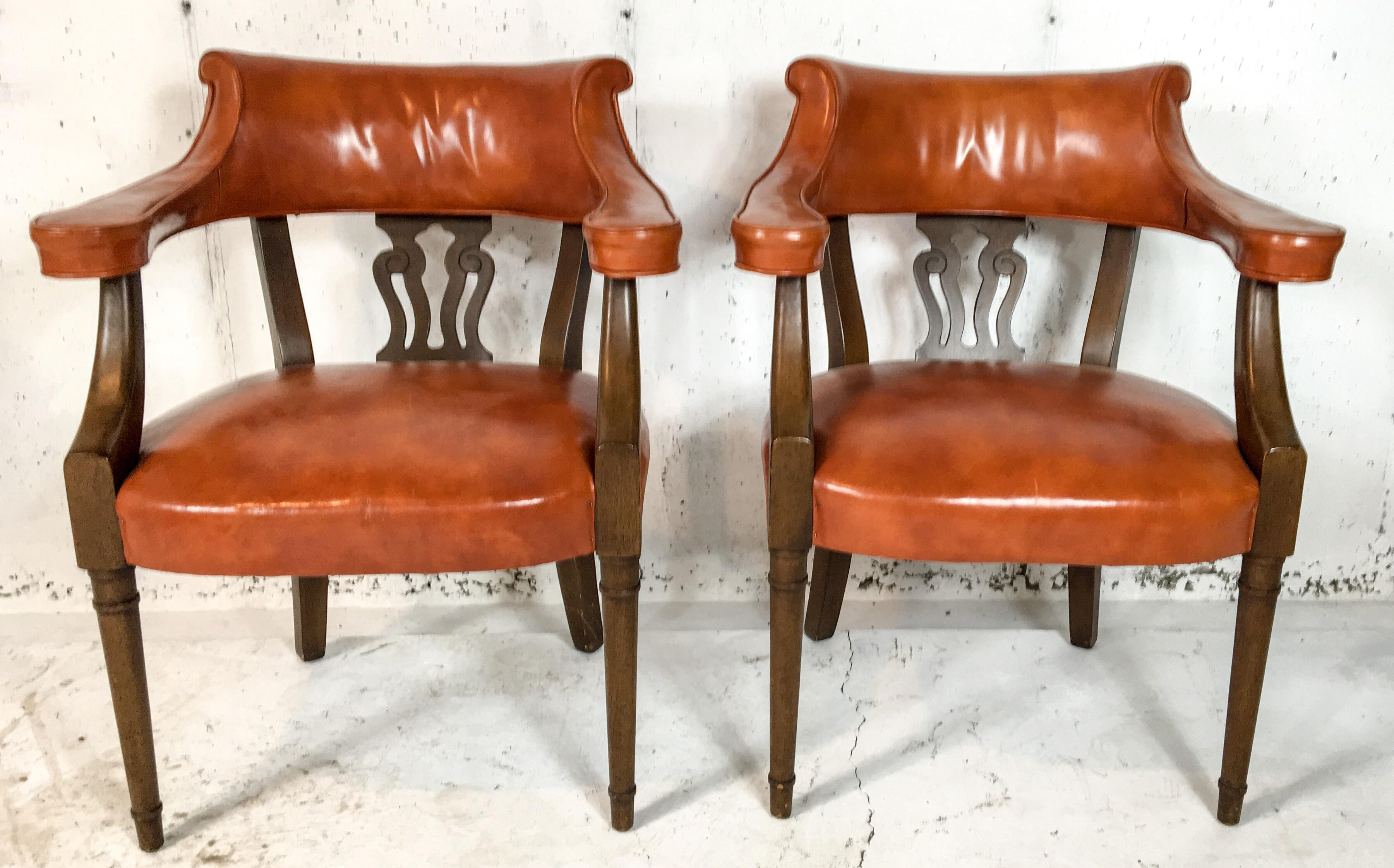 Hickory Chair Leather Library Chairs   A Pair   Image 2 Of 5