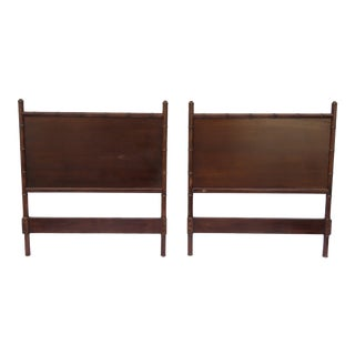 Pair Vintage Faux Bamboo Mahogany Headboard Upholstered C1950 Custom Quality For Sale