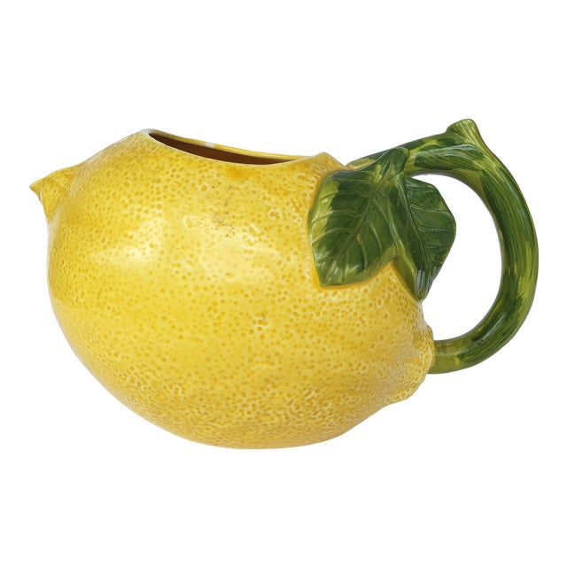 1990s Ceramic Lemon Pitcher Made in Mexico, Signed For Sale